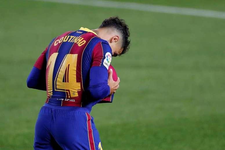 Coutinho, lesionado en el 'Clásico'. EFE