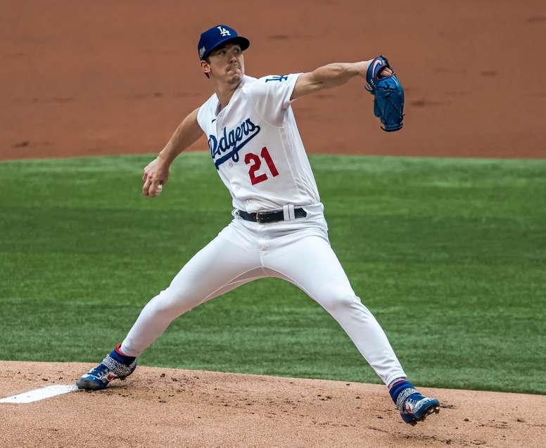 El jugador de los Dodgers de Los Ángeles, Walker Buehler. EFE/EPA/TANNEN MAURY