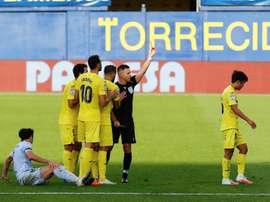 Kubo fue expulsado con doble amarilla ante el Valencia. EFE