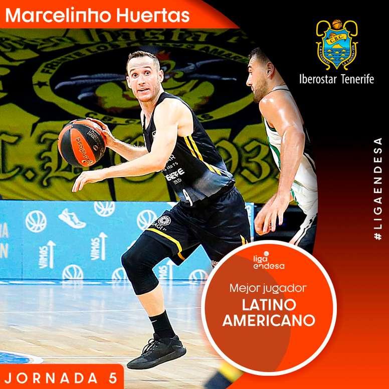 En la quinta jornada de la Liga Endesa, Marcelinho Huertas fue elegido como el mejor entre los 27 latinoamericanos que juegan en España.EFE/ACB