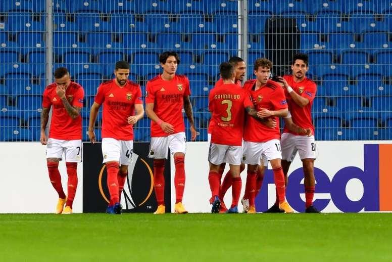 El Benfica venció al Lech Poznan con un gran Darwin Núñez. EFE/EPA/Jakub Kaczmarczyk