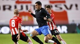 Molina inició con su gol la remontada del Granada al PSV. EFE