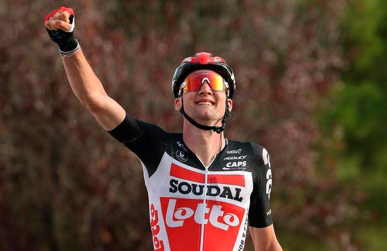 El belga Tim Wellens (Lotto Soudal) se ha impuesto en la quinta etapa de la Vuelta Ciclista a España disputada entre Huesca y Sabiñánigo, con un recorrido de 184,4 kilómetros. EFE/Kiko Huesca