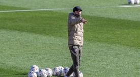 Simeone preparó a los suyos de cara al choque contra el Lokomotiv. EFE