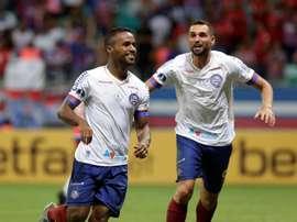 Bahía recibe a Unión de Santa Fe en la Copa Sudamericana. EFE/Raul Spinassé