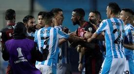 Flamengo sofreu para empatar na ida das oitavas de final da Libertadores. EFE/Juan Ignacio Roncoroni