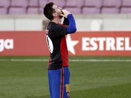 Messi dedicou golaço contra Osasuna a Diego Armando Maradona. EFE/ Andreu Dalmau