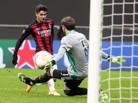 La picada de Brahim para sentenciar al Celtic. EFE/Matteo Bazzi