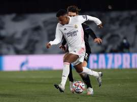 Real Madrid sente a falta de Rodrygo. EFE/ Juanjo Martín