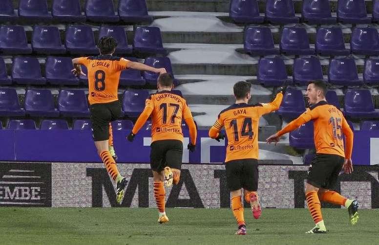 El Valencia se llevó los tres puntos de Zorrilla. EFE