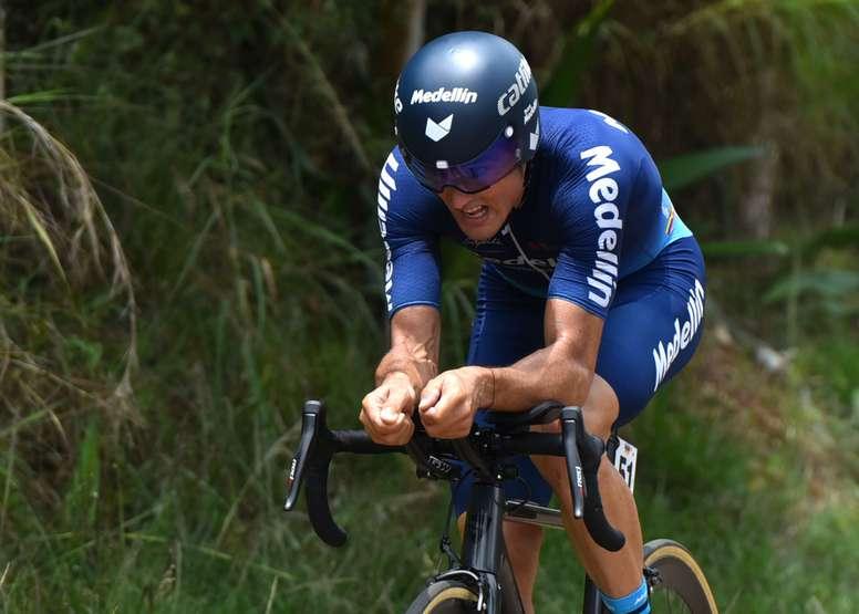 En la imagen, el ciclista español Óscar Sevilla. EFE/Ernesto Guzman Jr./Archivo