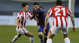 Leo Messi, expulsé pour la première fois avec le Barça. EFE