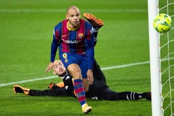 O Barça poderia perder Braithwaite por quatro meses. AFP