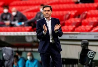 Marcelino, muy contento con el trabajo de sus futbolistas. EFE