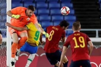 Unai Simon réagit à la médaille d'argent de l'Espagne. EFE