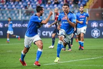 El gol del Petagna dio la victoria al Nápoles frente al Genoa. AFP