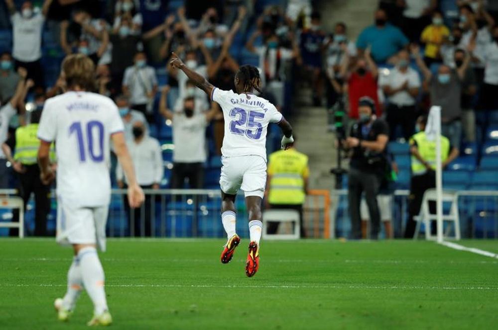 Camavinga podría estrenarse este miércoles en Champions con el Madrid. EFE/Archivo