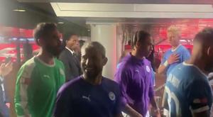 Aguero flirted with a fan after winning the Community Shield. Twitter/SamLee