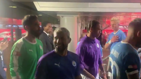 Aguero flirted with a fan after winning the Community Shield. Twitter/SamLee