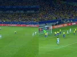 Agüero tuvo el empate tras un centro de Messi. Twitter/DAZN_ES