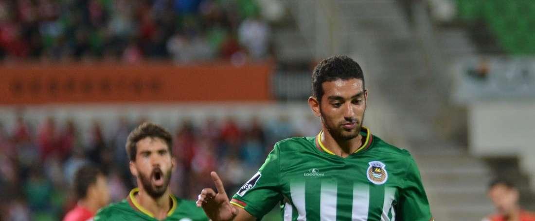 Ahmed Hassan, conocido como 'Koka', celebra el anotar el único tanto del encuentro entre Rio Ave y Braga. RioAveFC