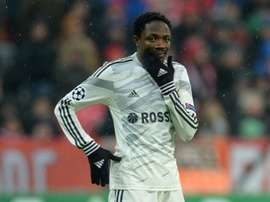 Ahmed Musa reacts during the UEFA Champions League Group E second-leg football match FC Bayern Munich vs CSKA Moscow in Munich, southern Germany, on December 10, 2014.