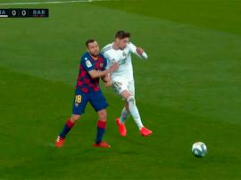 El Madrid pidió segunda amarilla. Captura/MovistarFutbol