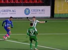 Alberto López anotó un golazo en Lituania. Youtube/FutboloTV
