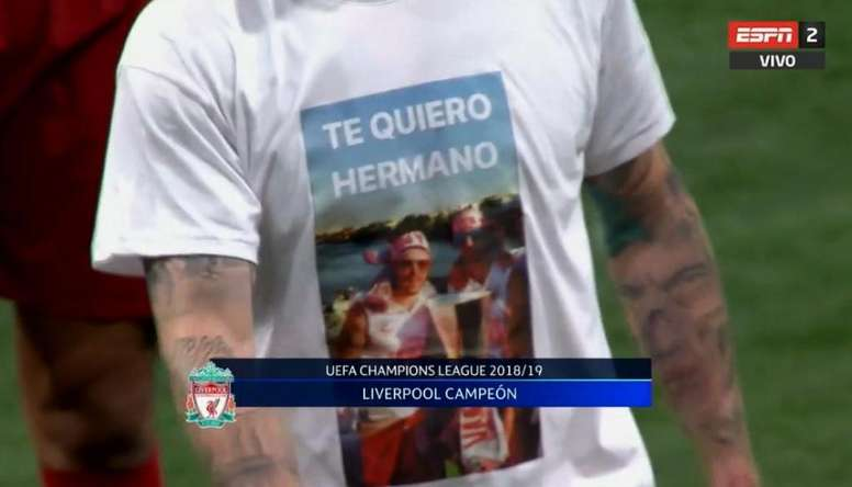 Alberto Moreno fez uma homenagem a José Antonio Reyes. Captura/ESPN2