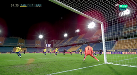 Cadiz's Alcala turned the ball into his own net. Screenshot/MovistarLaLiga