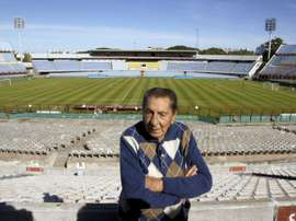 Alcides Ghiggia, the former Uruguay striker who scored the goal which won the 1950 World Cup against hosts Brazil, during an interview with AFP on May 14, 2010 at Centenario stadium in Montevideo.