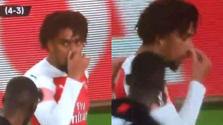 Feo gesto de Iwobi a Traoré simulando que olía mal. Capturas/BTSport
