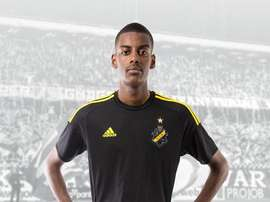 Alexander Isak posing in his current team's colours. AIK Solna