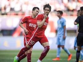 Alexandre Pato célèbre un de ses buts avec le Jiangsu Suning. Twitter/AlexandrePato