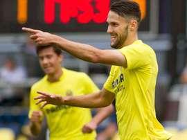 Alfonso Pedraza célèbre son but contre l'Athletic Club lors d'un match avec Villarreal. VillarrealCF