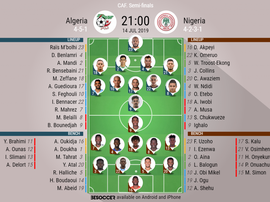 Algeria v Nigeria, Africa Cup of Nations semi-final, 14/07/19, Official Lineups. BESOCCER.