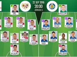 Alineaciones de Rayo y Getafe en Jornada 6 de Segunda División 16-17. BeSoccer