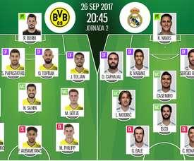 Os 11's de Dortmund e Real Madrid para esta partida. BeSoccer