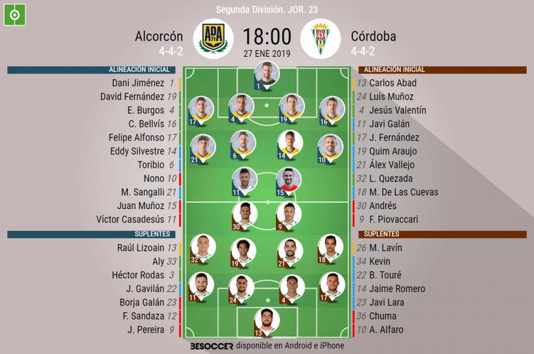 Alineaciones confirmadas de Alcorcón y Córdoba. BeSoccer