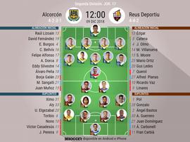Alineaciones confirmadas de Alcorcón y Reus. BeSoccer