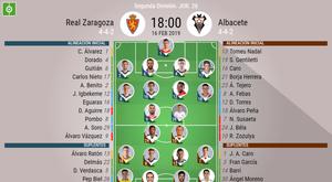 Alineaciones confirmadas de Real Zaragoza y Albacete. BeSoccer