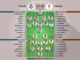 Alineaciones confirmadas de Tenerife y Córdoba. BeSoccer