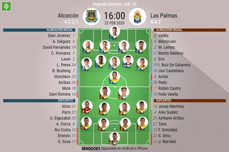 Alineaciones del Alcorcón-Las Palmas. BeSoccer