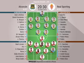 Alineaciones confirmadas para el Alcorcón-Real Sporting. BeSoccer
