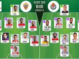 Alineaciones confirmadas del Almería-Valladolid de la décima jornada de Segunda División. BeSoccer