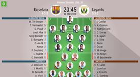Onces iniciales del Barcelona-Leganés de la Jornada 20. BeSoccer