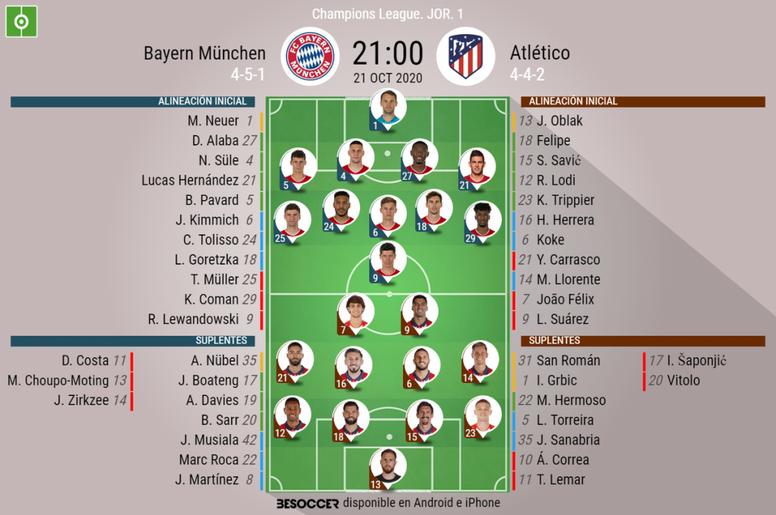 Sigue el directo del Bayern de Múnich-Atlético de Madrid. BeSoccer