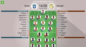 Alineaciones confirmadas del amistoso Brasil-Senegal que se disputa en Singapur. BeSoccer