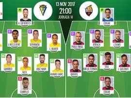 Alineaciones confirmadas del Cádiz-Reus de la jornada 14 de Segunda División 17-18. BeSoccer