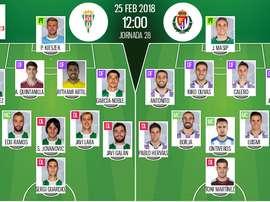 Alineaciones confirmadas del Córdoba-Valladolid de la Jornada 28 de Segunda División 17-18. BeSoccer